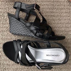 "Covington Black Strappy 3"" Wedge Sandals"
